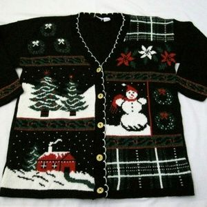 Ugly Christmas Sweater Cardigan Size XL